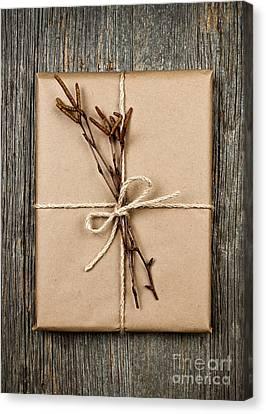 Wrapping Canvas Print - Plain Gift With Natural Decorations by Elena Elisseeva