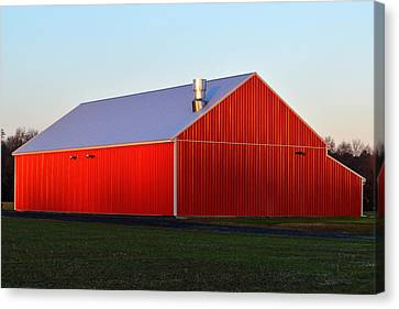 Canvas Print featuring the photograph Plain Jane Red Barn by Bill Swartwout