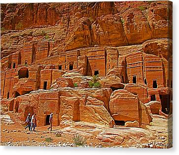 Plainer Tombs For The Not So Rich Nabateans In Petra- Jordan Canvas Print by Ruth Hager