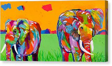 Plains Elephants Canvas Print