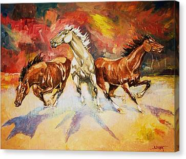 Canvas Print featuring the painting Plains Thunder by Al Brown
