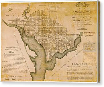 Plan For Washington D.c. Canvas Print by American Philosophical Society