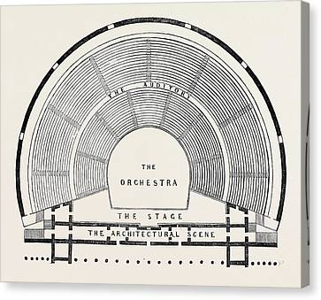 Plan Of A Greek Theatre Canvas Print by English School