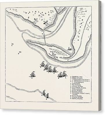 Sullivan Canvas Print - Plan Of Attack On Sullivans Island, From Fadens Atlas by American School