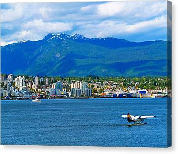 Planes Boats And Mountains In Vancouver  Canvas Print by Carol Cottrell