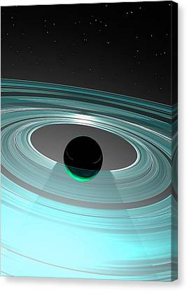 Planet And Rings Canvas Print by Victor Habbick Visions
