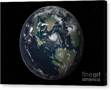 Merging Canvas Print - Planet Earth 90 Million Years Ago by Walter Myers