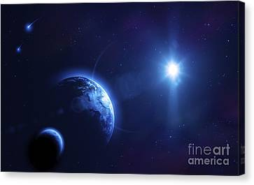 Planet Earth And Its Moon In Outer Canvas Print by Evgeny Kuklev