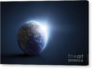 Planet Earth And Sunlight On A Dark Canvas Print by Evgeny Kuklev