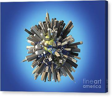 Nature Center Canvas Print - Planet Earth Covered By Huge by Leonello Calvetti