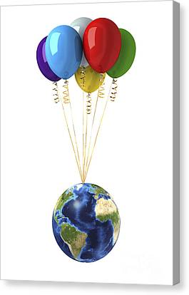 Inflatable Canvas Print - Planet Earth Lifted By A Bunch by Leonello Calvetti