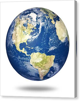 Planet Earth On White - America Canvas Print