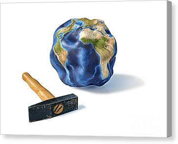 Planet Earth Smashed By A Hammer Canvas Print by Leonello Calvetti