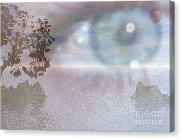 Canvas Print featuring the digital art Planet Eye by Kim Prowse