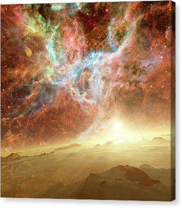 Planet Forming In A Nebula Canvas Print by Detlev Van Ravenswaay