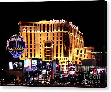 Planet Hollywood At Night Canvas Print by John Rizzuto