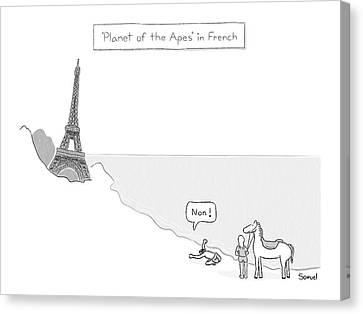 Planet Of The Apes In French -- The Eiffel Tower Canvas Print