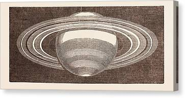 Planet Saturn As Seen In November, 1852 Canvas Print by English School