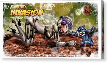Horror Fantasy Movies Canvas Print - Planetary Invasion by Pete Tapang
