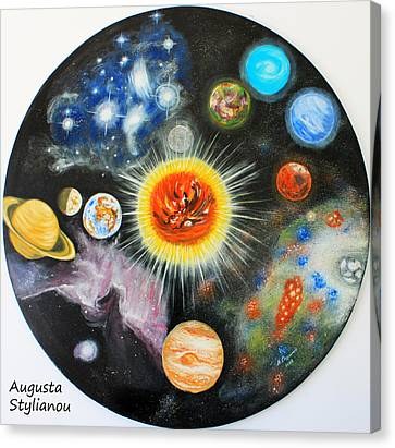 Planets And Nebulae In A Day Canvas Print by Augusta Stylianou