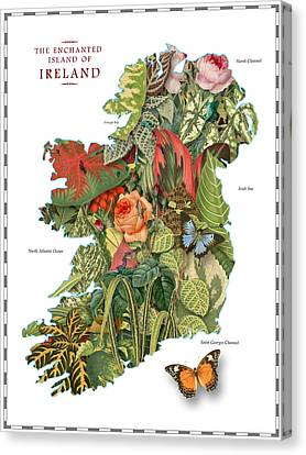 Plant Map Of Ireland Canvas Print by Gary Grayson