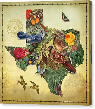 Plant Map Of Texas Canvas Print by Gary Grayson