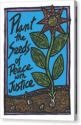 Seed Canvas Print - Plant The Seeds Of Peace by Ricardo Levins Morales