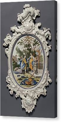 Plaque Depicting Jacob Choosing Rachel To Be His Bride Canvas Print by Litz Collection