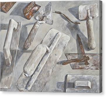 Plasterer Tools 2 Canvas Print by Anke Classen