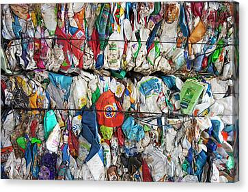 Plastic Packaging At A Recycling Centre Canvas Print by Peter Menzel