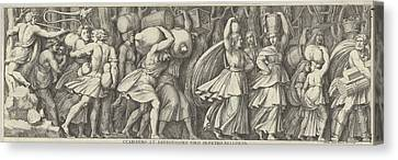 Plate 1 A Procession  Figures Walking Canvas Print by Pietro Santi Bartoli