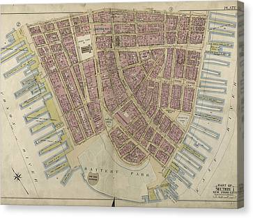 Plate 1 Canvas Print - Plate 1 Bounded By Liberty Street, Maiden Lane, South by Litz Collection