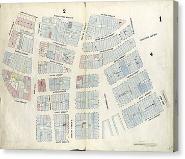 Plate 1 Canvas Print - Plate 1 Map Bounded By Battery Place, Marketfield Street by Litz Collection