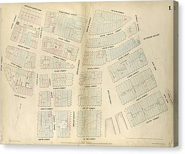 Plate 1 Canvas Print - Plate 1 Map Bounded By Bowling Green Row, Marketfield by Litz Collection