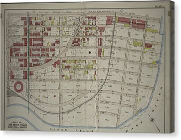 Plate 1 Canvas Print - Plate 1 Part Of Sections 9 & 10, Borough Of The Bronx by Litz Collection