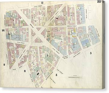 Plate 10 Map Bounded By Chatham Street, James Street, South Canvas Print by Litz Collection