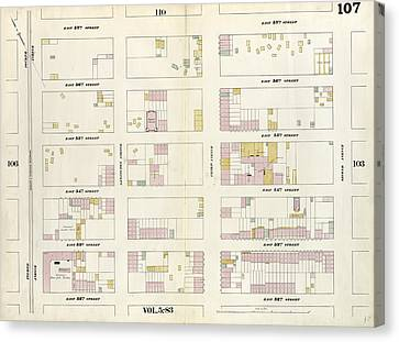 Plate 107 Map Bounded By East 57th Street Canvas Print by Litz Collection