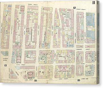 Plate 11 Map Bounded By Chatham Square, Division Street Canvas Print by Litz Collection
