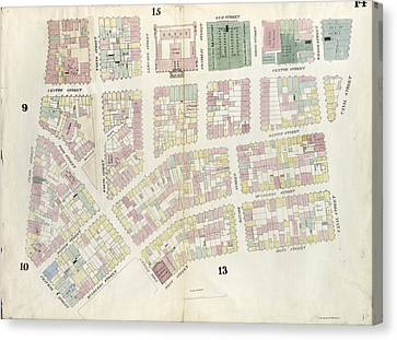 Plate 14 Map Bounded By Canal Street, Mott Street Canvas Print by Litz Collection