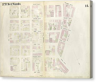 Plate 14 Map Bounded By Market, James Street, York Street Canvas Print