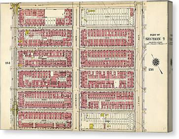 155 Canvas Print - Plate 155 Bounded By W. 145th Street, Lenox Avenue by Litz Collection