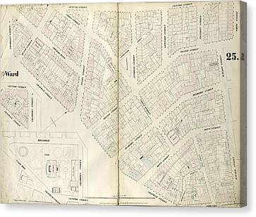 Plate 25 Map Bounded By Chambers Street, Center Street Canvas Print by Litz Collection