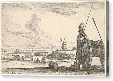 Plate 5 A Pikeman Standing At Right Canvas Print by Stefano della Bella