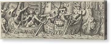 Plate 6 Figures In Boats Decorated Canvas Print by Pietro Santi Bartoli