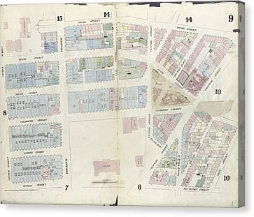 Plate 9 Map Bounded By Pearl Street, Chatham Street, Duane Canvas Print by Litz Collection
