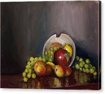 Plate With Fruit Canvas Print by Nicolas Bouteneff
