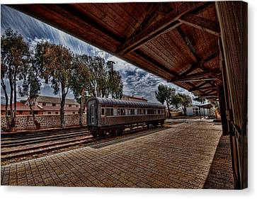 platform view of the first railway station of Tel Aviv Canvas Print