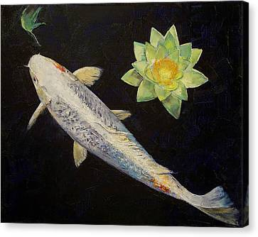 Platinum Ogon Koi Canvas Print by Michael Creese