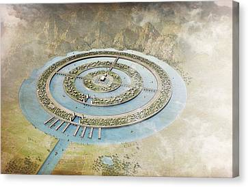 Plato's Map Of Atlantis, Artwork Canvas Print by Science Photo Library
