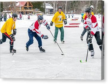 Pond Hockey Canvas Print - Play At 6th Hockey by Jim Block